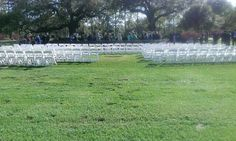 Wedding ceremony near fountain at park entrance on St. Featured are white polymer folding chairs. Outdoor Ceremony, Wedding Ceremony, Outdoor Decor, New Orleans Party, Audubon Park, Backyard Birthday Parties, Wedding Rentals, Folding Chairs, Park Weddings