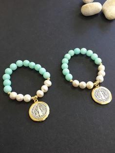 Pulseras de San Benito, 3cm medalla piedra semi preciadas, 1 pulsera