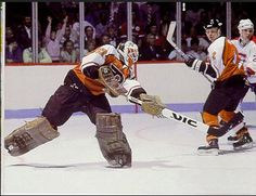 Quite possibly the craziest man to ever put on the goalie gear, Ron Hextall's apparent imbalance was equaled only by his tenacity in net. One of only five players to win the Conn Smythe trophy on the losing team, Hextall was never able to duplicate his Stanley Cup final appearances over the course of his career.