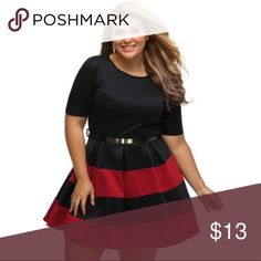 🌻 Plus Size Summer Dress 🌻 Brand new dress that is perfect for the summer. Solid black top with a striped bottom. Comes with a faux leather belt accented with brass buttons (as seen in displayed picture). Colors are true to the ones displayed in the listing. Material: Polyester/Cotton  Size: XL Bust: 39-43 Waist: 32-37 Hip: 42 Length: 33  Size: XXL Bust: 41-45 Waist: 36-40 Hip: 44 Length: 34  Size: XXXL Bust: 44-48 Waist: 37-42 Hip: 47 Length: 35 Dresses Mini