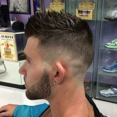 25 Amazing Mens Fade Hairstyles - Page 4 of 25 - Hairstyles & Haircuts for Men & Women - Part 4 Popular Mens Hairstyles, Hairstyles Haircuts, Haircuts For Men, Mens Spiked Hairstyles, Trendy Hairstyles, Hairstyles For Young Men, Shaved Side Hairstyles Men, Men Hairstyle Short, Faux Hawk Hairstyles