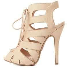 Charlotte Russe Peep Toe Cut-Out Lace-Up Heels (155 ILS) ❤ liked on Polyvore featuring shoes, pumps, heels, nude, nude peep-toe pumps, stiletto heel pumps, stiletto pumps, peep-toe pumps and slingback pumps
