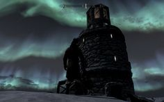 Frostflow Lighthouse at night. (Skyrim)