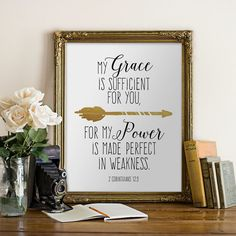 Printable Bible Verse Quote Printable Sign 2 Corinthians 12:9 My Grace Is Sufficient Arrow Christian Print INSTANT DOWNLOAD Digital wall art