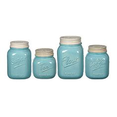 Blue And Ivory Kitchen Canisters, Set Of 4