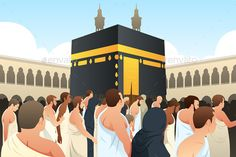 Buy Muslim Pilgrims Walking Around Kaaba in Mecca by artisticco on GraphicRiver. A vector illustration of Muslim Pilgrims Walking Around Kaaba in Mecca Ramadan, Flowery Wallpaper, Islamic Cartoon, Editing Background, Background Banner, Anime Muslim, Islamic Girl, Islamic Wallpaper, Islamic Pictures