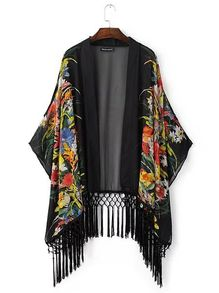 Black Flower Print Macrame Fringe Kimono