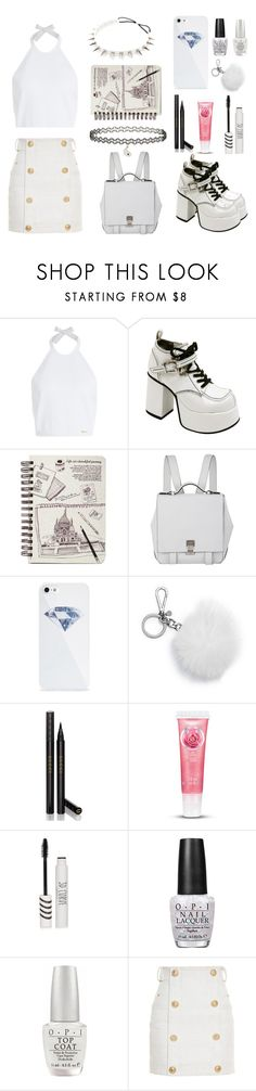 """""""White it~"""" by kwonrena ❤ liked on Polyvore featuring Dsquared2, Proenza Schouler, BlissfulCASE, Michael Kors, Gucci, Topshop, OPI and Balmain"""