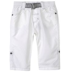 577efeb6d7644 Jean Bourget Boys Trousers Off White with Elastic Waistband and Grey Belt
