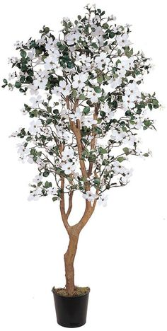 Nearly Natural 5019 Dogwood Silk Decorative Tree, 5-Feet, White -- Click on the image for additional details.