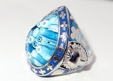 LION WITH DROP SHAPE BLUE MURANO GLASS RING by ALAN K, STERLING SILVER 925 ITALY