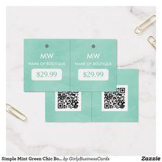 Simple Mint Green Chic Boutique Monogram Hang Tags Depot Vente Vetement Carte De Visite Avec