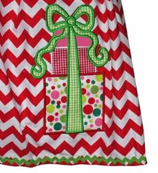 children's holiday dresses | Custom Girl's Christmas Dress in Red Chevron with Appliqued Present
