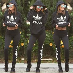 Desi Perkins. | casual | adidas | black outfit | leggings | hoodie