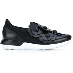 Moncler Emy sneakers ($625) ❤ liked on Polyvore featuring shoes, sneakers, black, slip-on sneakers, leather slip on shoes, black slip-on sneakers, leather slip on sneakers and black slip-on shoes