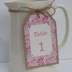 VINTAGE STYLE WEDDING TABLE NUMBER TAG Shabby Chic Pink Vintage Rose Bloom