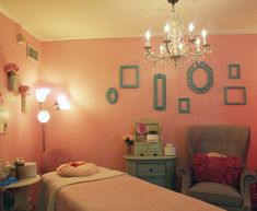 Such a cute idea for a treatment room at home