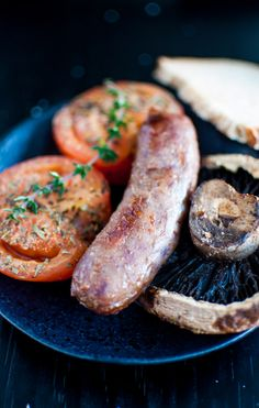 Sausages with roasted tomatoes and portobello mushrooms, comfort food at its best. Breakfast for dinner!