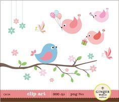 Cute Birds with birthday gift ballon clip art digital illustration Bird Nest Craft, Animal Cutouts, Bunny Blanket, Bird Quilt, Birthday Scrapbook, Cute Clipart, Bird On Branch, Cute Birds, Pretty Birds