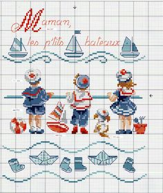 "Veronique Enginger ''Fables Contes Comptines'' - ""bateau sur l'eau"" Small Children on the Beach Watching Sailboats Cross Stitch Patterns Cross Stitch Sea, Cross Stitch Cards, Cross Stitch Borders, Cross Stitch Designs, Cross Stitching, Cross Stitch Embroidery, Embroidery Patterns, Cross Stitch Patterns, Crochet Patterns"
