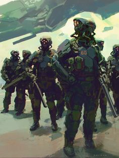 Sci Fi Soldiers - Juan Pablo Roldan on ArtStation. Futuristic Armour, Futuristic Art, Character Concept, Character Art, Character Design, Armor Concept, Concept Art, Future Soldier, Sci Fi Armor