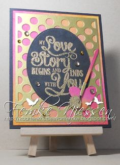"""made by femke niessen. non traditional valentine's card in the colors pink/orange/gold/black. stamps: my favorite things """"love story"""". MFT dienamics: """"polkadots background, pierced ovals, homespun birdhouse, paint brushes""""."""
