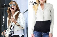 Lzzy Hale: Cropped White Leather Jacket