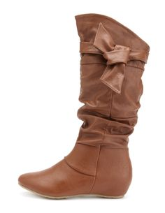 Bow-Wrapped Flat Boot