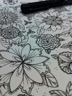 Blog not there now. Just pinning for the flower doodling ideas