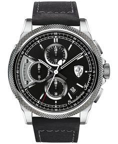 Scuderia Ferrari Men's Chronograph Formula Italia S Black Leather Strap Watch 46mm 830275
