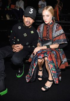 Chance the Rapper and Chloë Sevigny in the front row at the Kenzo x HM fashion show in New York.