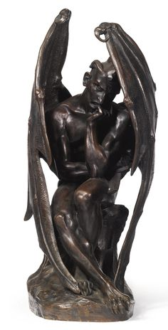 Jean-Jacques Feuchère 1807 - 1852 FRENCH SATAN, L'ANGE DECHU signed J. Feuchère 1833 bronze, dark brown patina