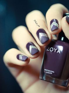 Silver Chevron on Grape Background Nail Art.