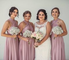 Beautiful bride @sar_carmel with her gorgeous Goddess By Nature bridesmaids in the amazing dust me pink colour 💕 love the pretty bouquets 🌸 www.goddessbynature.com Stockists and shipping worldwide