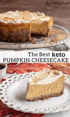 Easy Pumpkin Cheesecake - Low Carb, Keto, Gluten-Free, Grain-Free, THM S - This easy pumpkin cheesecake recipe comes together in minutes in your food processor or blender. Less than 10 ingredients to…More 6 Awesome Keto Diet Friendly Cheesecake Ideas Keto Desserts, Keto Friendly Desserts, Dessert Recipes, Diet Recipes, Holiday Desserts, Keto Holiday, Thanksgiving Desserts, Keto Desert Recipes, Low Calorie Desserts