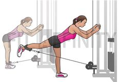 """Cable Kick Backs Target Muscles Glutes. Hook a leather ankle cuff to a low cable pulley and then attach the cuff to your ankle. Face the weight stack from a distance of about 2 feet, grasping the steel frame for support. While keeping your knees and hips bent slightly and your abs tight, contract your Glutes slowly """"kick"""" the working leg back in a semicircular arc as high as it will comfortably go as you breathe out. Tip: at full extension, squeeze your Glutes for a second in order to…"""