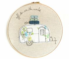 retro airstream caravan embroidery artwork by three red apples | notonthehighstreet.com