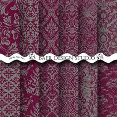 This is my elegant instant download Sangria and Gray Damask Digital Paper Collection. These digital papers are perfect for photo cards,