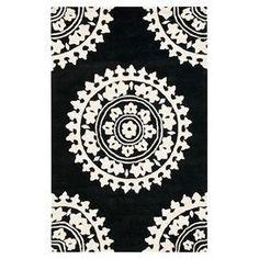 Safavieh Handmade Soho Shyhrete Medallion N. Wool Rug (Black/Ivory x Wool Area Rugs, Wool Rug, Black Rug, Black And White, Color Black, Contemporary Rugs, Joss And Main, Colorful Rugs, Soho
