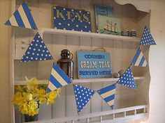 Cornishware Design Wooden Bunting Made in Cornwall Approx long. Nautical Bunting, Bunting Banner, Banners, Blue Cream, Blue And White, Cornishware, Cornwall, Seaside, Stripes