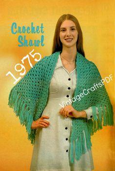 1975 Crochet Pattern-Easy Shawl Pattern-Great Beginner Crochet Pattern-Airy Summer Shawl-Spring Shawl-Fast Crochet-Vintage Crafts PDF-USA by VintageCraftsPDF on Etsy