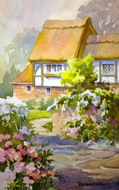 Watercolors castles and europe on pinterest for Watercolor cottages