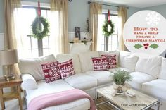 Don't have a mantel? See how to hang an inexpensive shelf to create a wintery holiday scene on any bare wall via Jessica @ fourgenerationsoneroof.com