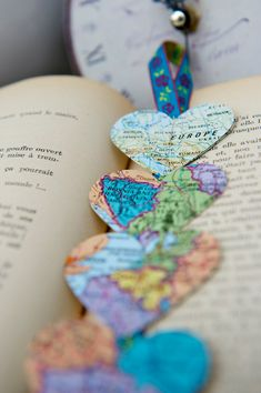Vintage French Maps BOOKMARK Hearts of the World by LaMiaCasa, $9.00