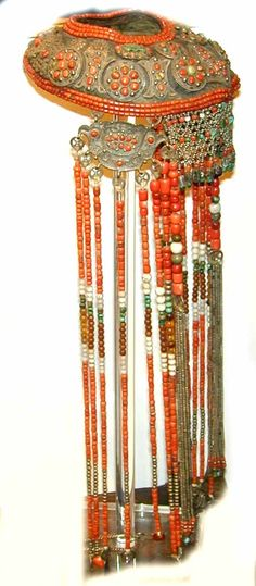 rare shape, full headdress coral with silver Mongolia (archives sold )