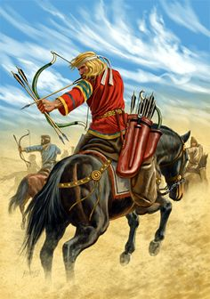 SPAIN / Hispania (The end of Roman Hispania) - Alanos, pueblo de origen sármata (zona al norte del mar negro que actualmente pertenece a Rusia) se unieron a suevos y vándalos durante la invasión de la Galia romana y posteriormente de Hispania. Se asentaron en una amplia zona que abarca el centro, suroeste y sureste de la Península Ibérica. Guerreros Alanos