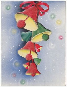 Vintage Greeting Card Christmas Bells Hallmark 1940s e835