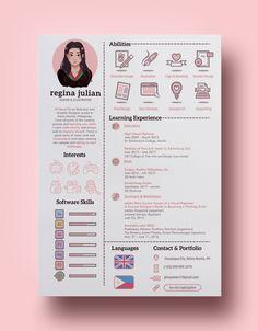 Personal Branding and Resume / CV of Regina Julian with project details and design process information. Web Design, Graphic Design Resume, Graphic Design Posters, Layout Design, Design Trends, Personal Branding, Self Branding, Personal Resume, Portfolio Design