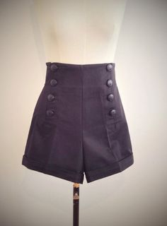 BLACK SAILOR SHORTS, high waist, 1940's style swing pants.
