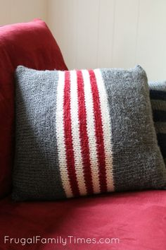 Vintage Camp Blanket Inspired Pillows ~ 3 Simple Knitting Patterns for Total Beginners Vintage Camp Blanket Inspired Pillows ~ Red, white and grey stripes ~ Simple Knitting Patterns for Easy Knitting Patterns, Knitting Projects, Crochet Patterns, Simple Knitting, Knitted Cushions, Knitted Blankets, Baby Blankets, Camping Blanket, Knit Pillow
